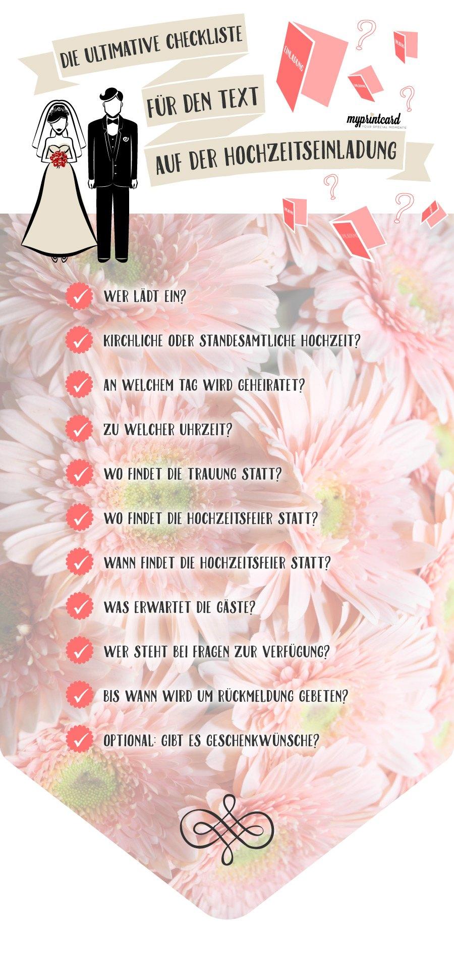 Mit Der Checkliste Vergesst Ihr Nichts Im Text Der Hochzeitseinladung
