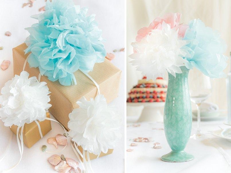 Pompoms basteln für die Hochzeit geht ziemlich einfach.