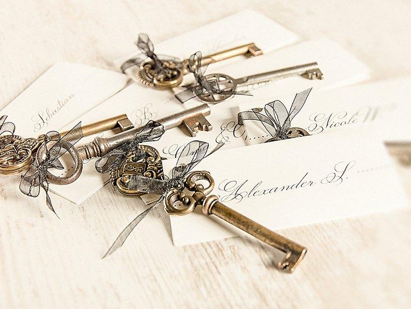 Vintage Platzkärtchen mit Schlüssel