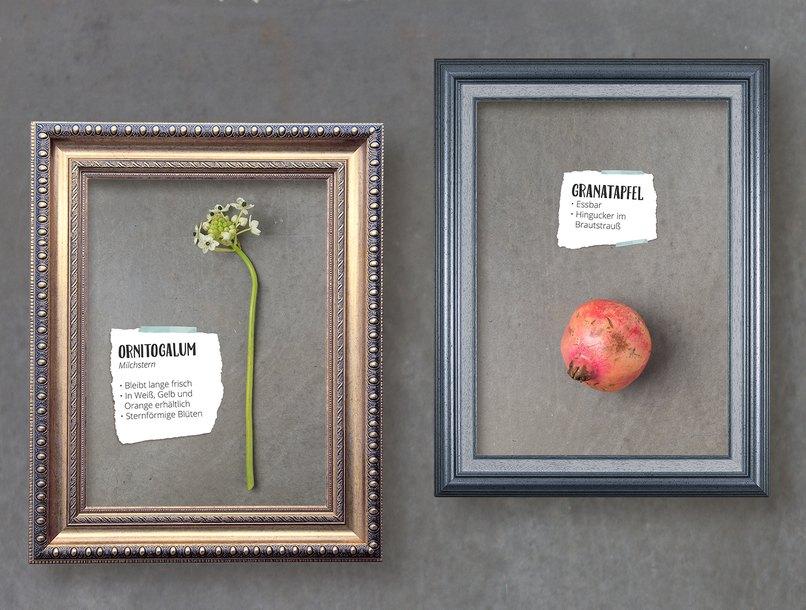 Der Granatapfel wird zum Hingucker im Brautstrauß