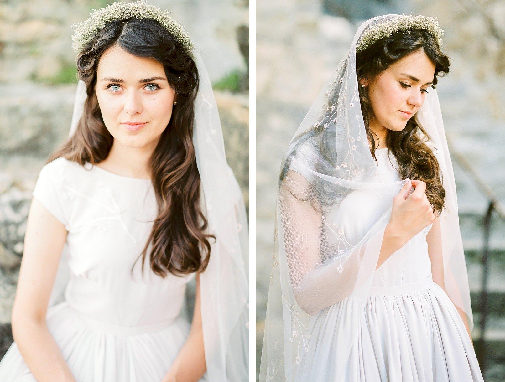 Brautfrisuren mit schleier und blumenkranz