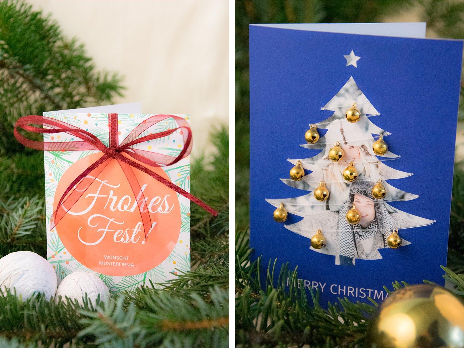 Zwei Weihnachtskarten   Motiv Kugel Und Motiv Tanne